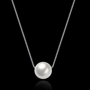 925 Sterling Silver Faux Pearl Pendant Necklace